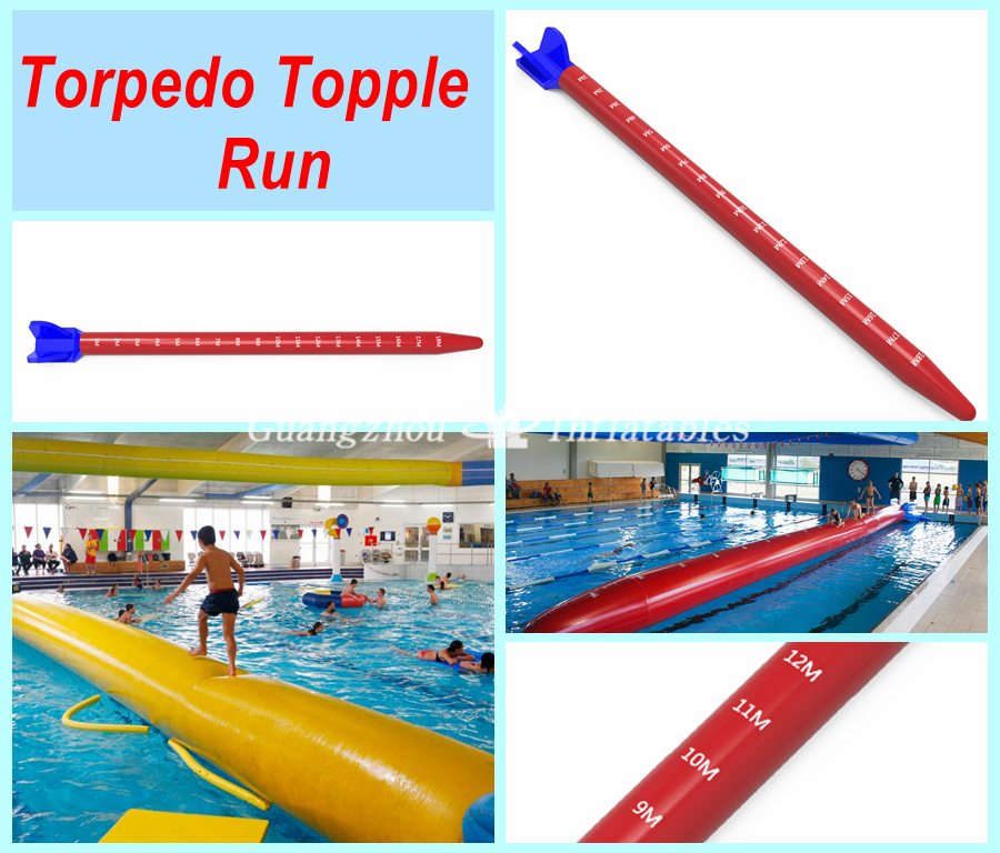 Inflatable Torpedo Topple Run for Pool