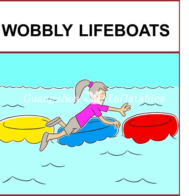 Inflatable wobbly Lifeboats for swimming pool